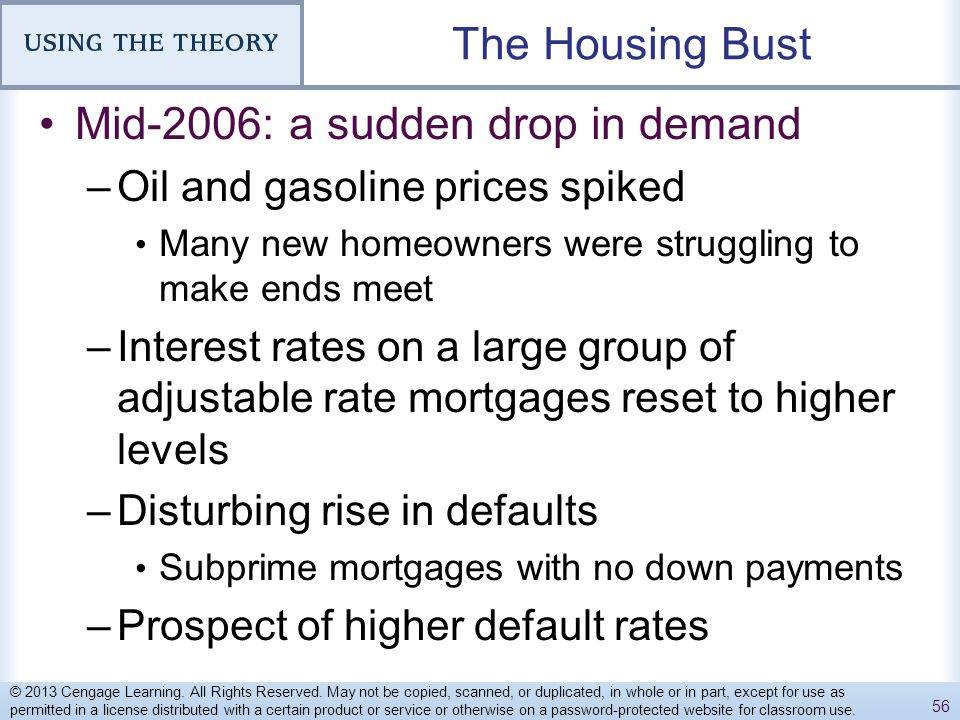 The Housing Bust Mid-2006: a sudden drop in demand –Oil and gasoline prices spiked Many new homeowners were struggling to make ends meet –Interest rat