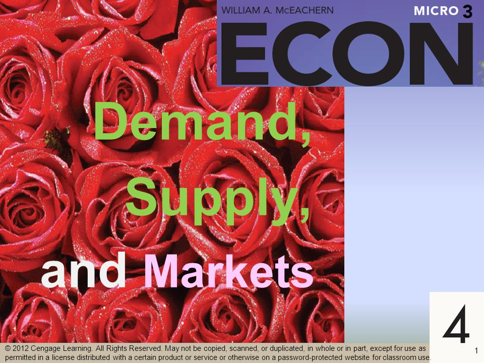 2 Demand –The quantity consumers are willing and able to buy at each possible price during a given time period, other things constant –Amounts purchased per period at each possible price –Willing and able –Specific period –Other things constant © 2012 Cengage Learning.