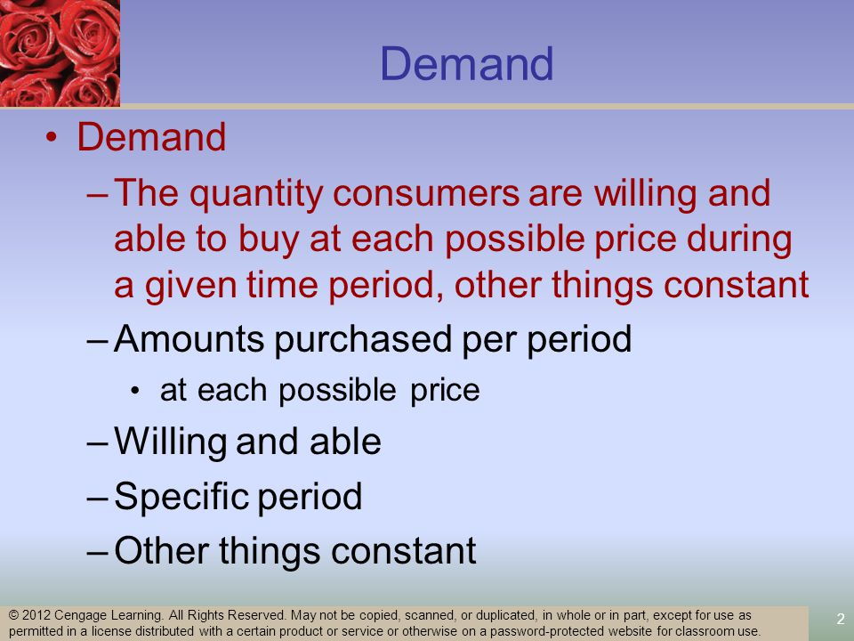 Disequilibrium Price Floors –Minimum legal price below which a product cannot be sold –To have an impact, it must be set above the equilibrium price –Surplus –Distort markets –Reduce economic welfare 53 © 2012 Cengage Learning.