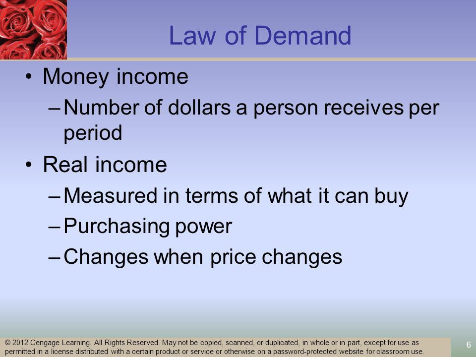 6 Law of Demand Money income –Number of dollars a person receives per period Real income –Measured in terms of what it can buy –Purchasing power –Changes when price changes © 2012 Cengage Learning.