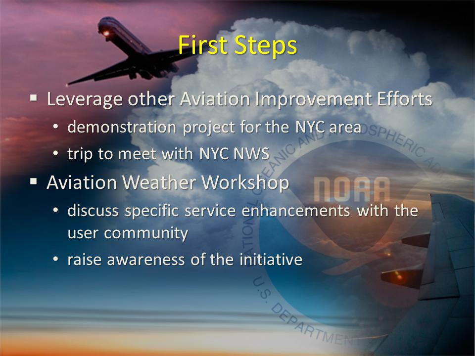 First Steps Leverage other Aviation Improvement Efforts Leverage other Aviation Improvement Efforts demonstration project for the NYC area demonstration project for the NYC area trip to meet with NYC NWS trip to meet with NYC NWS Aviation Weather Workshop Aviation Weather Workshop discuss specific service enhancements with the user community discuss specific service enhancements with the user community raise awareness of the initiative raise awareness of the initiative