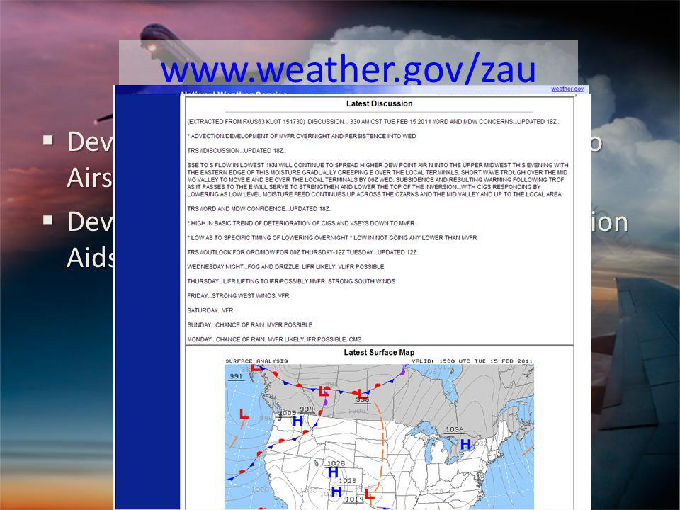 www.weather.gov/zau Developed as a one-stop source for Chicago Airspace Wx information Developed as a one-stop source for Chicago Airspace Wx information Development of wind and TS Tactical Decision Aids (TDA) Development of wind and TS Tactical Decision Aids (TDA)