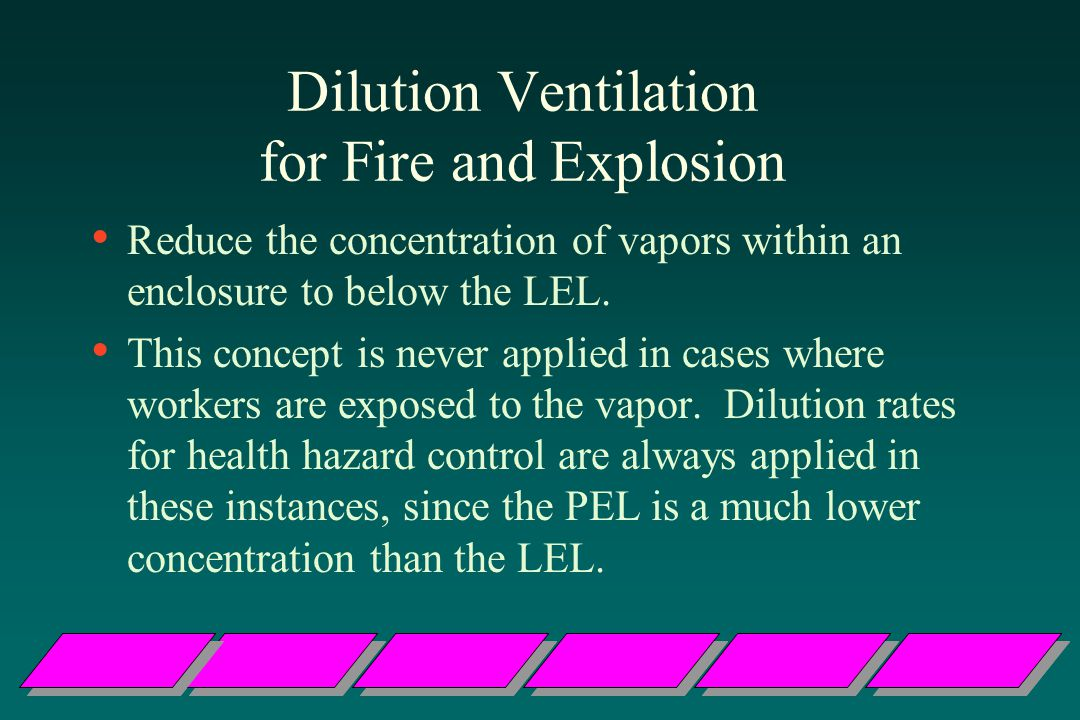 Dilution Ventilation for Fire and Explosion Reduce the concentration of vapors within an enclosure to below the LEL.