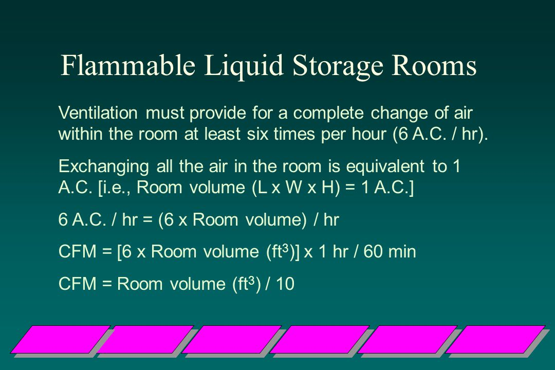 Flammable Liquid Storage Rooms Ventilation must provide for a complete change of air within the room at least six times per hour (6 A.C.