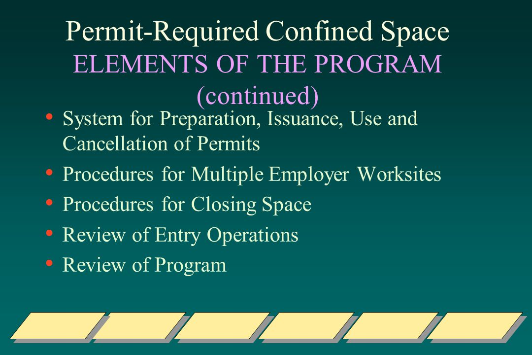 Permit-Required Confined Space ELEMENTS OF THE PROGRAM (continued) System for Preparation, Issuance, Use and Cancellation of Permits Procedures for Multiple Employer Worksites Procedures for Closing Space Review of Entry Operations Review of Program