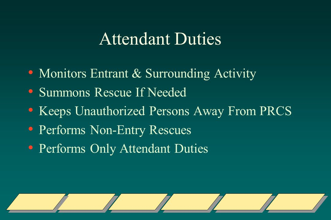Attendant Duties Monitors Entrant & Surrounding Activity Summons Rescue If Needed Keeps Unauthorized Persons Away From PRCS Performs Non-Entry Rescues Performs Only Attendant Duties