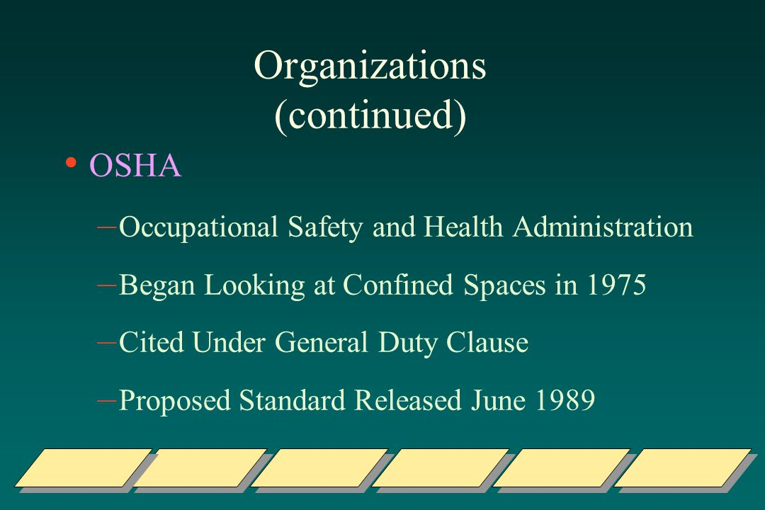Organizations (continued) OSHA – Occupational Safety and Health Administration – Began Looking at Confined Spaces in 1975 – Cited Under General Duty Clause – Proposed Standard Released June 1989