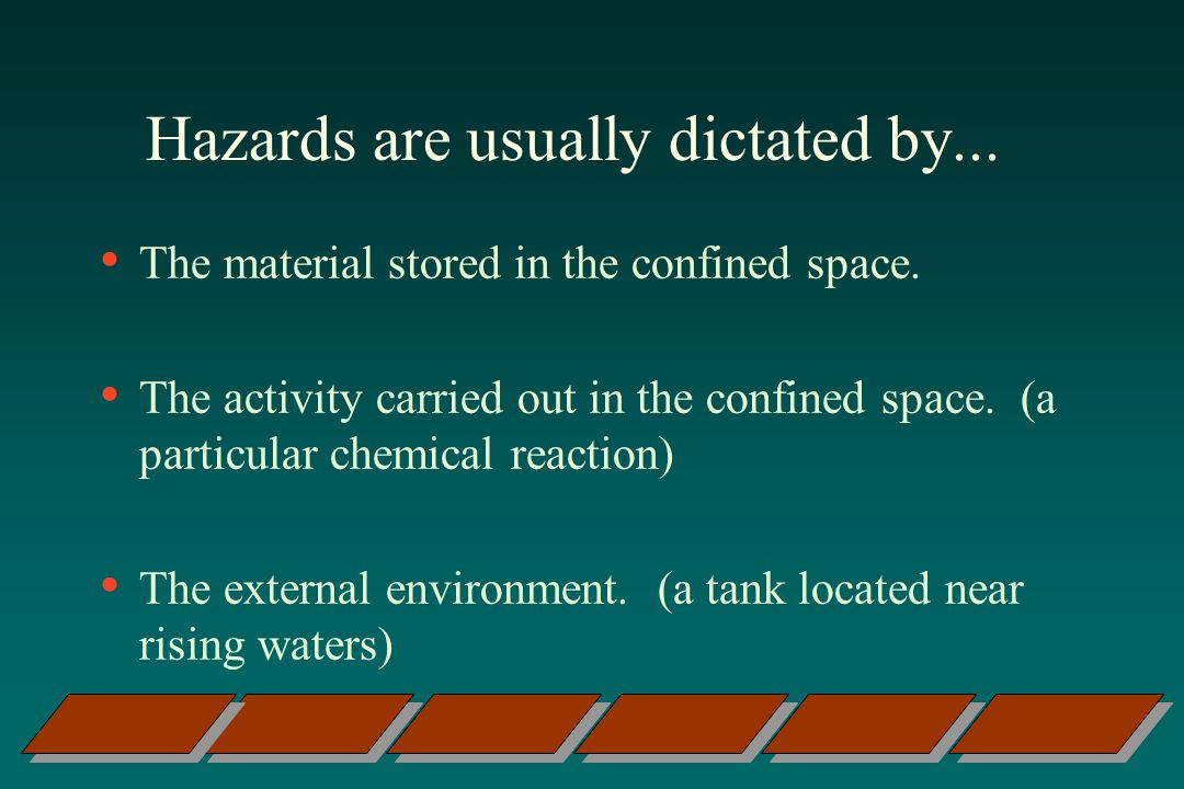 Hazards are usually dictated by...The material stored in the confined space.