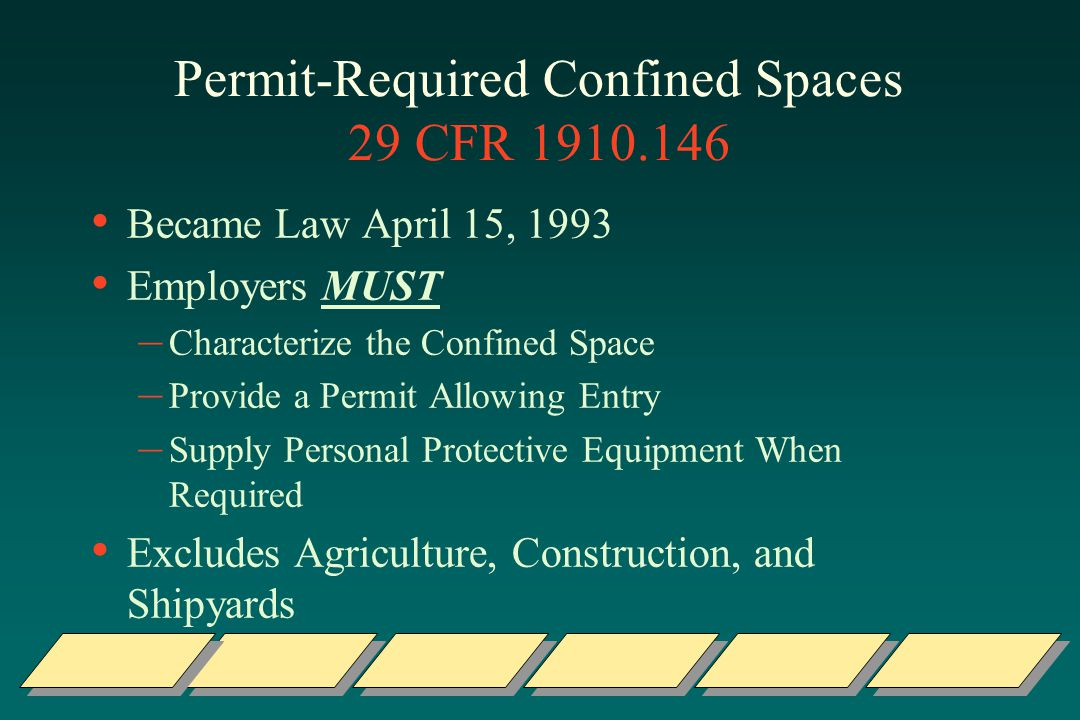 Permit-Required Confined Spaces 29 CFR 1910.146 Became Law April 15, 1993 Employers MUST – Characterize the Confined Space – Provide a Permit Allowing Entry – Supply Personal Protective Equipment When Required Excludes Agriculture, Construction, and Shipyards