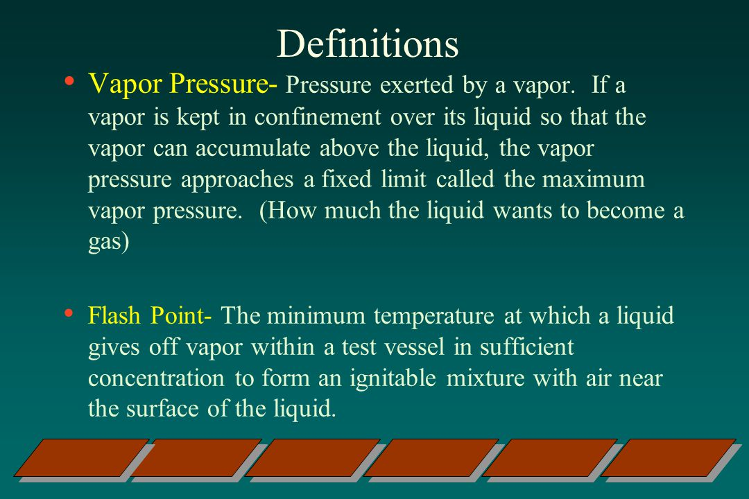 Definitions Vapor Pressure- Pressure exerted by a vapor.