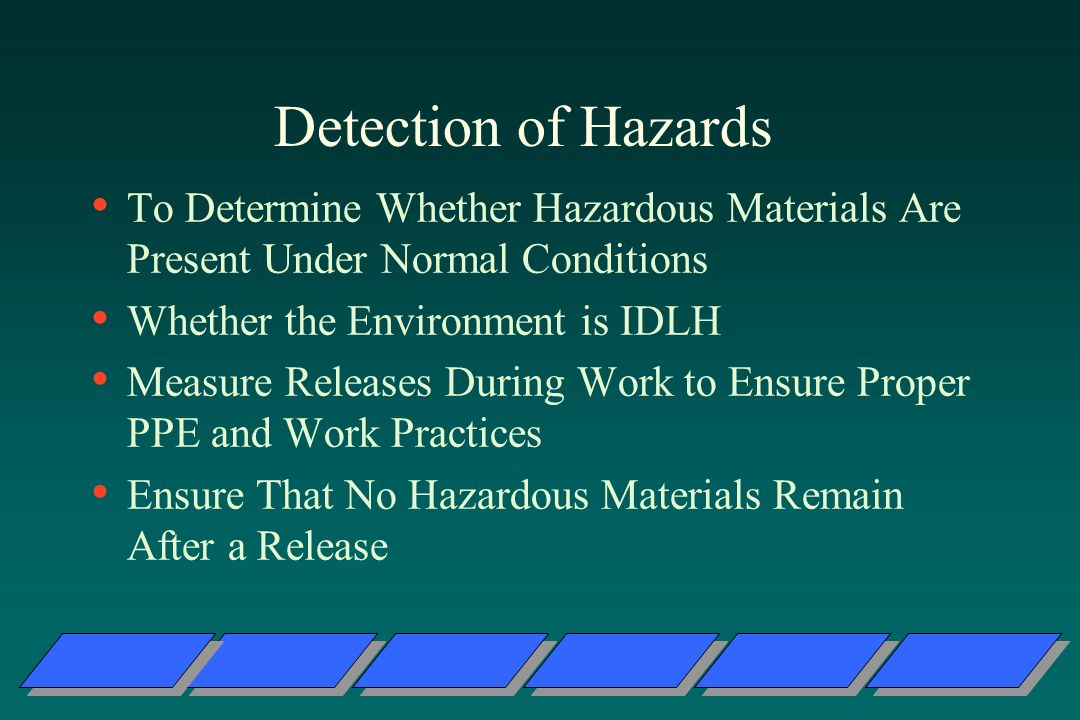 Detection of Hazards To Determine Whether Hazardous Materials Are Present Under Normal Conditions Whether the Environment is IDLH Measure Releases During Work to Ensure Proper PPE and Work Practices Ensure That No Hazardous Materials Remain After a Release