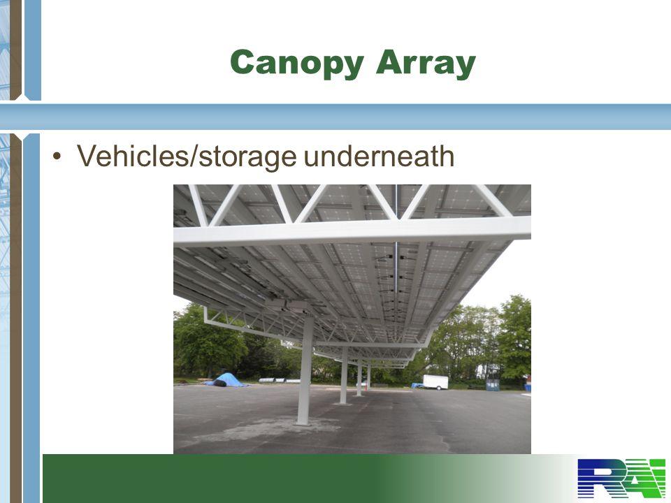 Canopy Array Vehicles/storage underneath