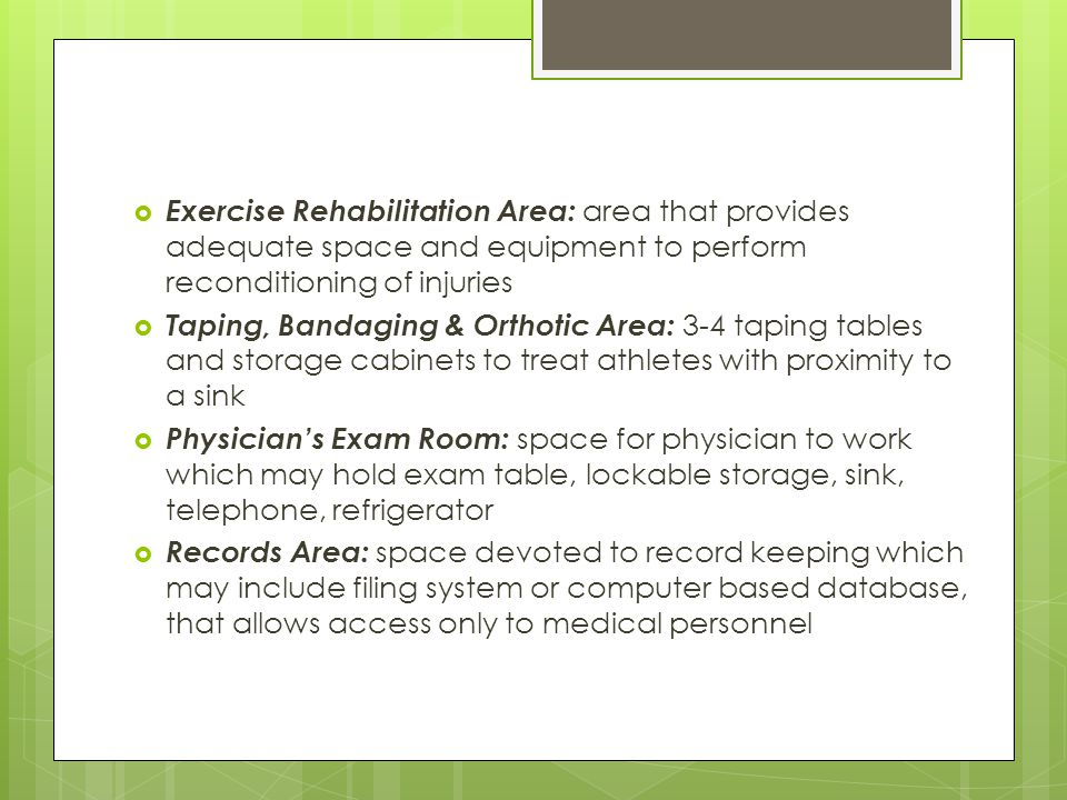 Emergency Telephones Accessibility to phones in all major areas of activity is a must Should be able to contact outside emergency help and be able to call for additional athletic training assistance Radios, cell and digital phones provide a great deal of flexibility