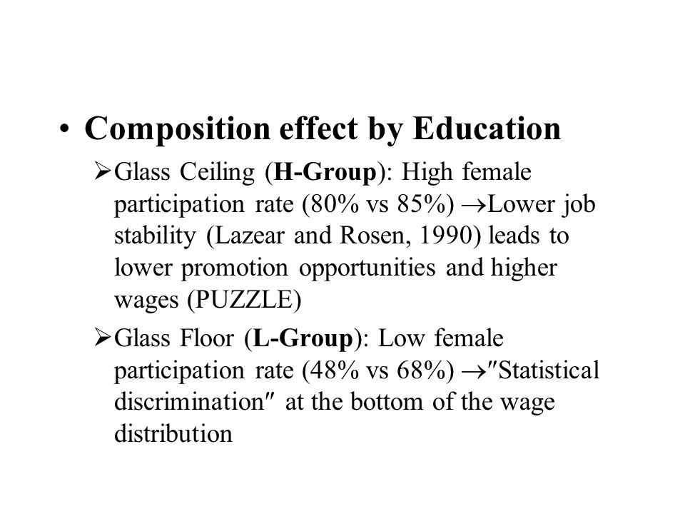 Composition effect by Education Glass Ceiling (H-Group): High female participation rate (80% vs 85%) Lower job stability (Lazear and Rosen, 1990) leads to lower promotion opportunities and higher wages (PUZZLE) Glass Floor (L-Group): Low female participation rate (48% vs 68%) Statistical discrimination at the bottom of the wage distribution