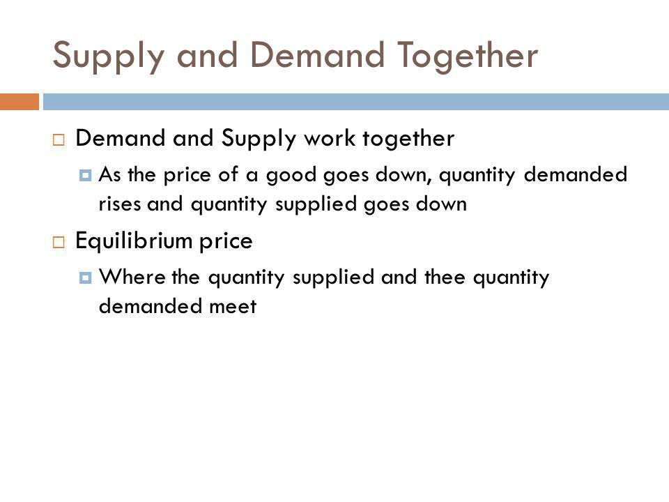 Supply and Demand Together Demand and Supply work together As the price of a good goes down, quantity demanded rises and quantity supplied goes down Equilibrium price Where the quantity supplied and thee quantity demanded meet