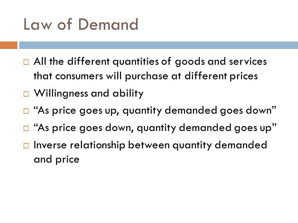 Law of Demand All the different quantities of goods and services that consumers will purchase at different prices Willingness and ability As price goes up, quantity demanded goes down As price goes down, quantity demanded goes up Inverse relationship between quantity demanded and price