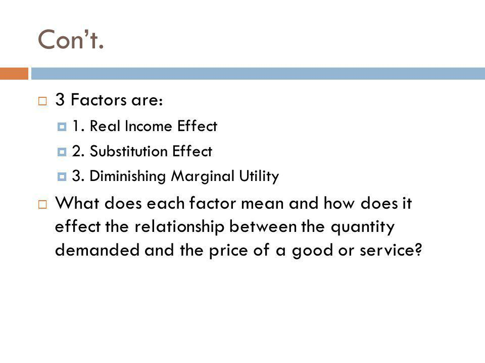 Cont.3 Factors are: 1. Real Income Effect 2. Substitution Effect 3.