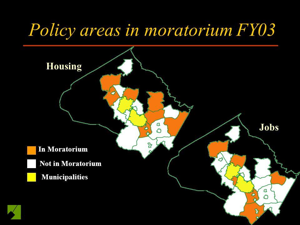 Policy areas in moratorium FY03 Housing In Moratorium Not in Moratorium Municipalities Jobs