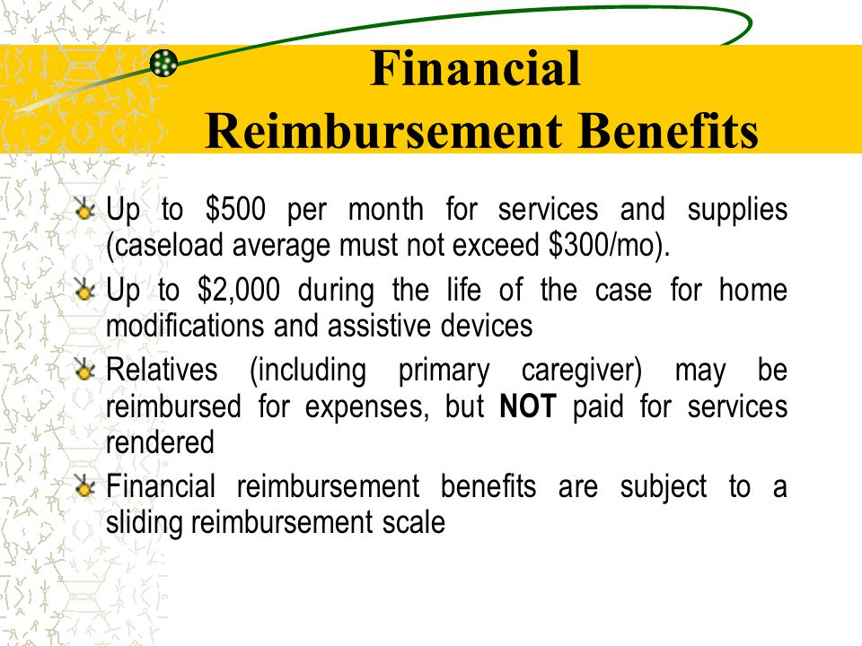 Sliding Reimbursement Scale Families with incomes at or below 200% of poverty may receive full benefits (if needed) Families with incomes between 200% and the eligibility ceiling of 380% of poverty receive declining reimbursements in 10% decrements as income increases in increments of 20% of poverty