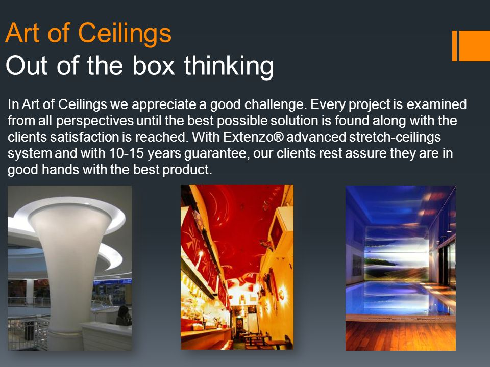 Art of Ceilings Climaclick - Patent With its expertise in the field of stretch ceilings, Extenzo® has developed Climaclick®, in cooperation with the INSA (National Institute of Applied Sciences).
