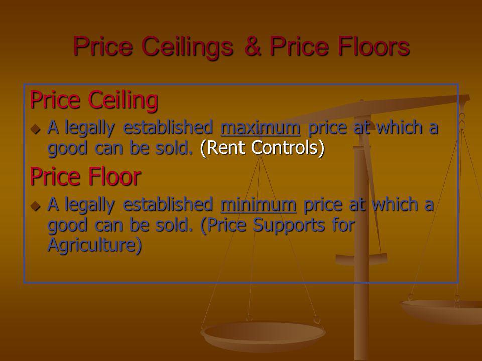 Price Ceilings & Price Floors Price Ceiling u A legally established maximum price at which a good can be sold. (Rent Controls) Price Floor u A legally