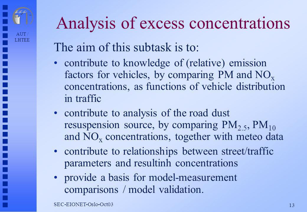 AUT / LHTEE 13 SEC-EIONET-Oslo-Oct03 Analysis of excess concentrations The aim of this subtask is to: contribute to knowledge of (relative) emission factors for vehicles, by comparing PM and NO x concentrations, as functions of vehicle distribution in traffic contribute to analysis of the road dust resuspension source, by comparing PM 2.5, PM 10 and NO x concentrations, together with meteo data contribute to relationships between street/traffic parameters and resultinh concentrations provide a basis for model-measurement comparisons / model validation.