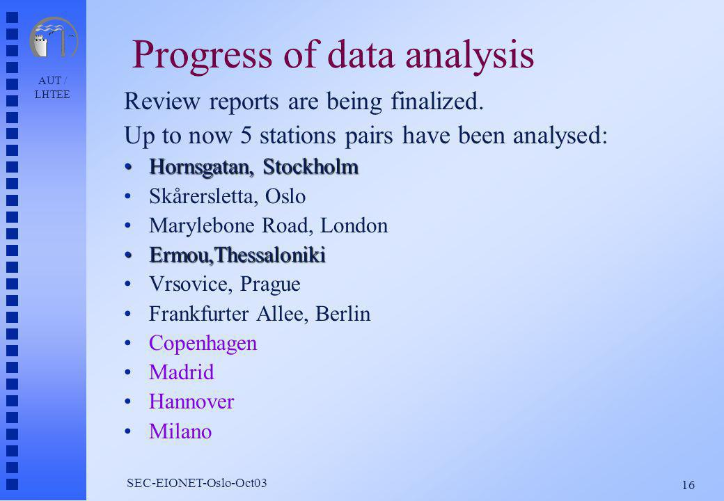 AUT / LHTEE 16 SEC-EIONET-Oslo-Oct03 Progress of data analysis Review reports are being finalized.