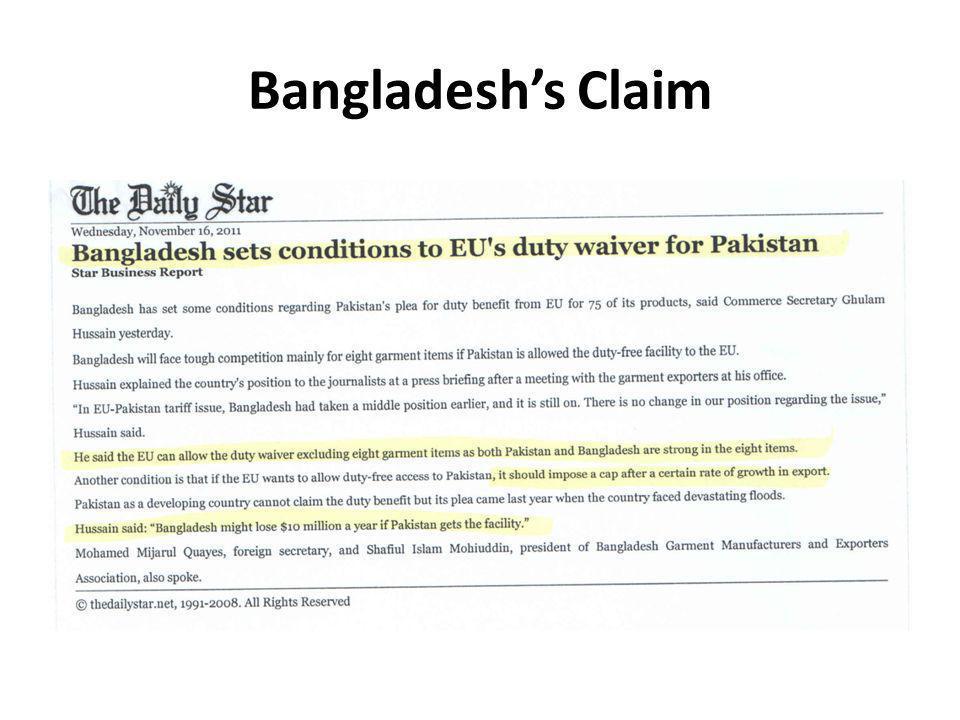Bangladeshs Claim