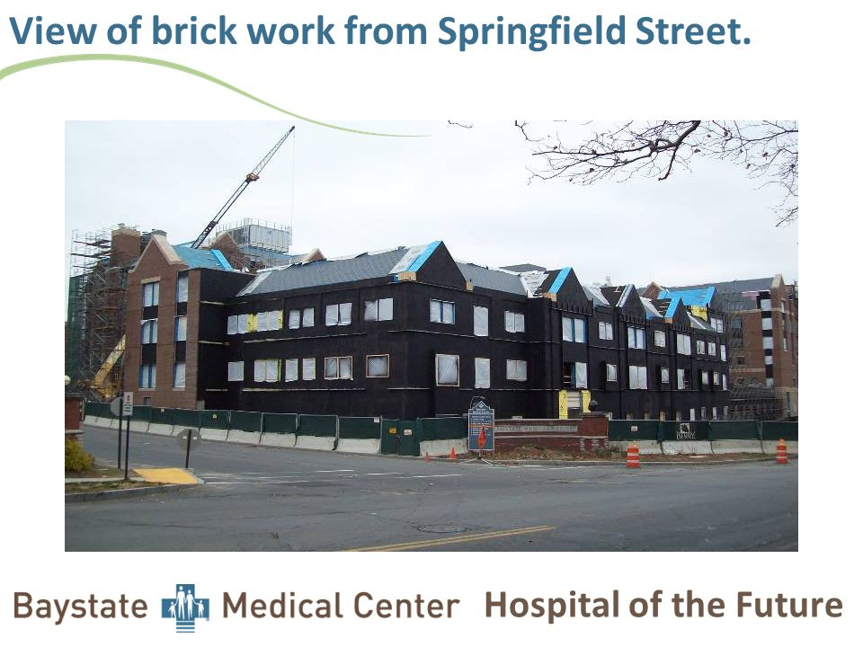 Hospital of the Future View of brick work from Springfield Street.