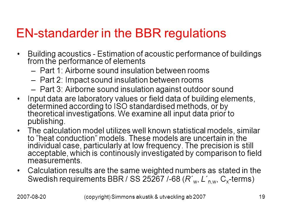 2007-08-20(copyright) Simmons akustik & utveckling ab 200719 EN-standarder in the BBR regulations Building acoustics - Estimation of acoustic performa