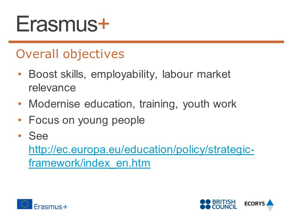Key facts Simpler, cross-sectoral structure based on Key Actions Worth 940m to UK over seven years Replaces Lifelong Learning Programme, Youth in Action and other EU programmes Addresses EU agenda for modernisation of HE