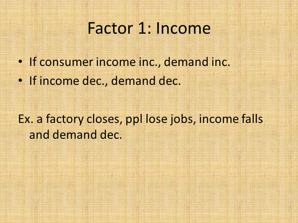 If consumer income inc., demand inc. If income dec., demand dec. Ex. a factory closes, ppl lose jobs, income falls and demand dec. Factor 1: Income