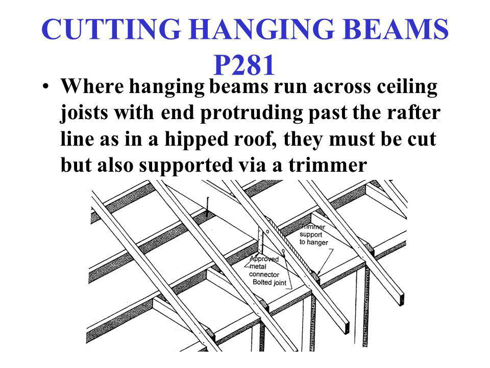 CUTTING HANGING BEAMS P281 Where hanging beams run across ceiling joists with end protruding past the rafter line as in a hipped roof, they must be cu