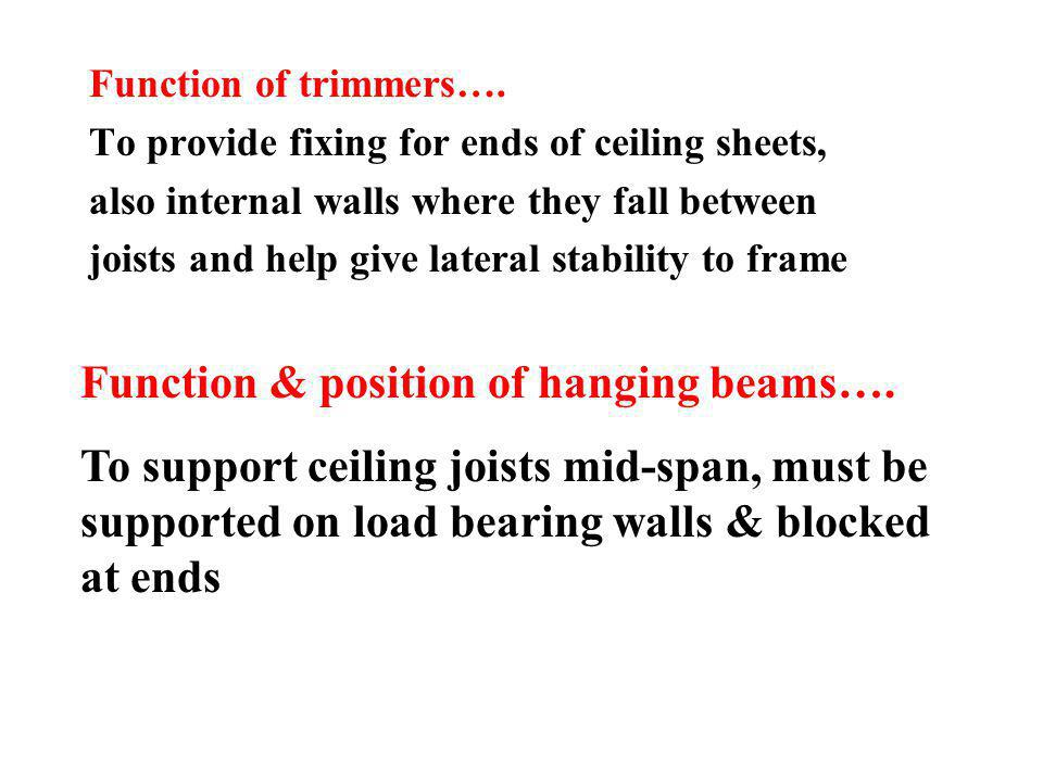 Function of trimmers…. To provide fixing for ends of ceiling sheets, also internal walls where they fall between joists and help give lateral stabilit