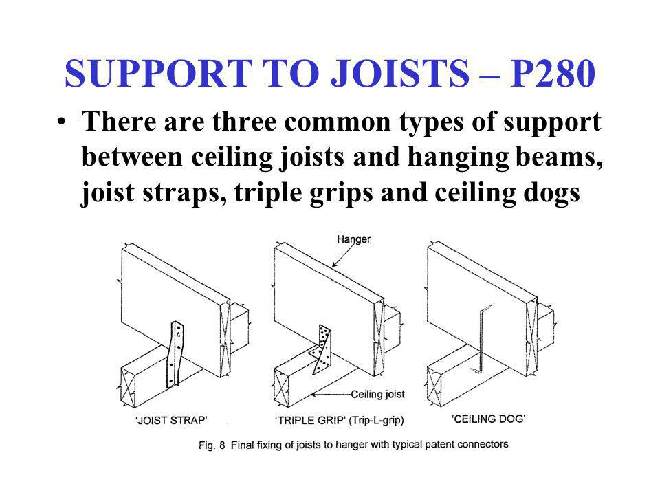 SUPPORT TO JOISTS – P280 There are three common types of support between ceiling joists and hanging beams, joist straps, triple grips and ceiling dogs