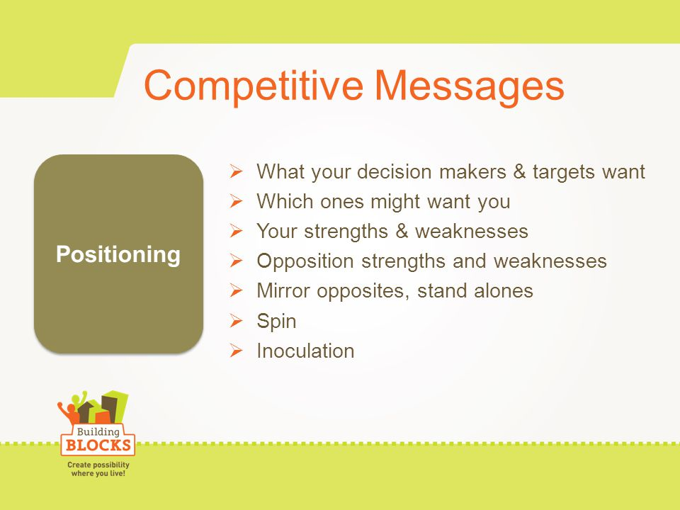Competitive Messages What your decision makers & targets want Which ones might want you Your strengths & weaknesses Opposition strengths and weaknesses Mirror opposites, stand alones Spin Inoculation Positioning
