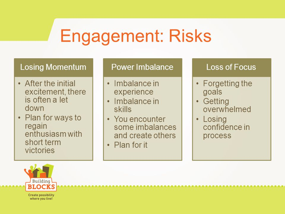 Engagement: Risks Losing Momentum After the initial excitement, there is often a let down Plan for ways to regain enthusiasm with short term victories Power Imbalance Imbalance in experience Imbalance in skills You encounter some imbalances and create others Plan for it Loss of Focus Forgetting the goals Getting overwhelmed Losing confidence in process