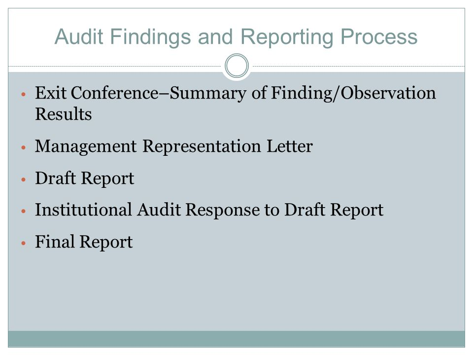 Audit Findings and Reporting Process Exit Conference–Summary of Finding/Observation Results Management Representation Letter Draft Report Institutional Audit Response to Draft Report Final Report