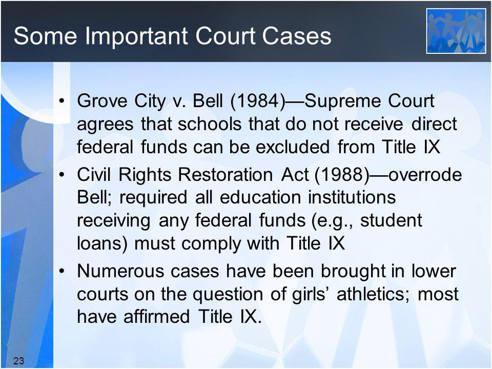 Some Important Court Cases Grove City v.