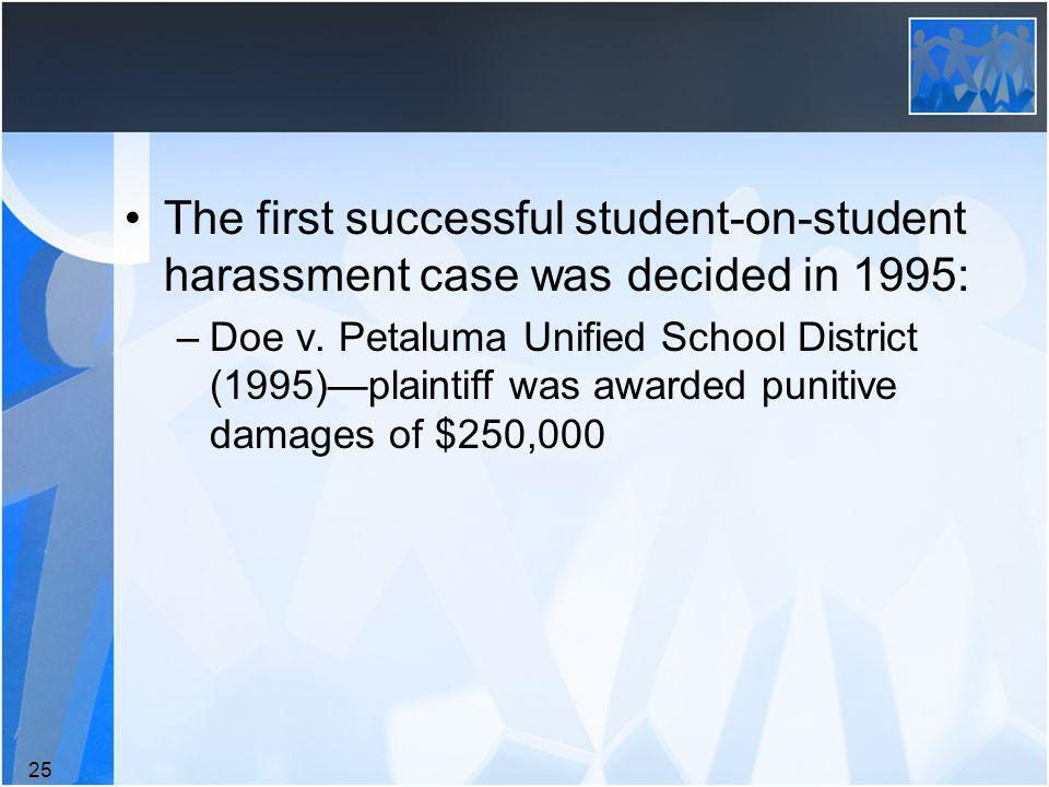 The first successful student-on-student harassment case was decided in 1995: –Doe v.