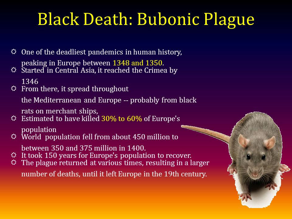 Black Death: Bubonic Plague One of the deadliest pandemics in human history, peaking in Europe between 1348 and 1350.