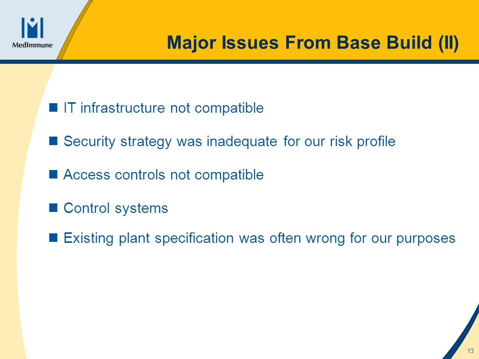 13 Major Issues From Base Build (II) IT infrastructure not compatible Security strategy was inadequate for our risk profile Access controls not compatible Control systems Existing plant specification was often wrong for our purposes