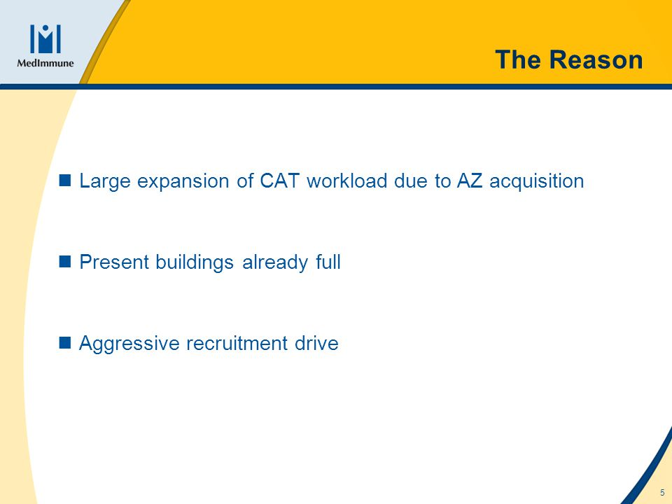 5 The Reason Large expansion of CAT workload due to AZ acquisition Present buildings already full Aggressive recruitment drive