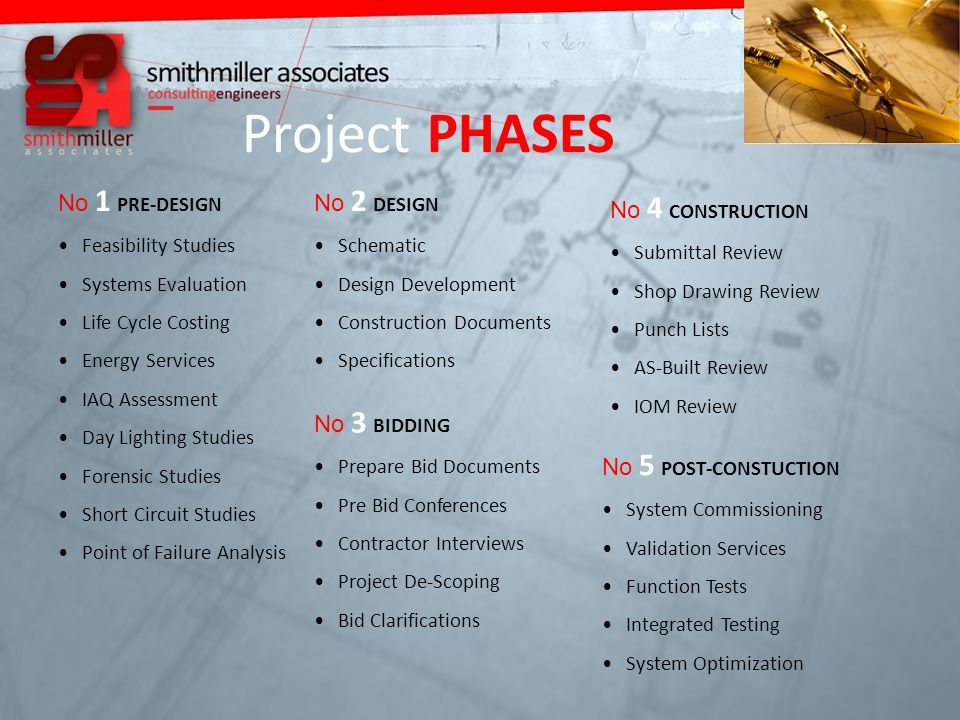 Project PHASES No 1 PRE-DESIGN Feasibility Studies Systems Evaluation Life Cycle Costing Energy Services IAQ Assessment Day Lighting Studies Forensic Studies Short Circuit Studies Point of Failure Analysis No 2 DESIGN Schematic Design Development Construction Documents Specifications No 3 BIDDING Prepare Bid Documents Pre Bid Conferences Contractor Interviews Project De-Scoping Bid Clarifications No 4 CONSTRUCTION Submittal Review Shop Drawing Review Punch Lists AS-Built Review IOM Review No 5 POST-CONSTUCTION System Commissioning Validation Services Function Tests Integrated Testing System Optimization