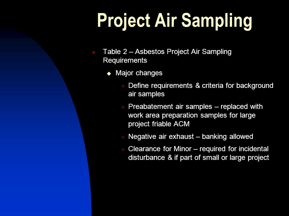 Project Air Sampling Table 2 – Asbestos Project Air Sampling Requirements Major changes Define requirements & criteria for background air samples Preabatement air samples – replaced with work area preparation samples for large project friable ACM Negative air exhaust – banking allowed Clearance for Minor – required for incidental disturbance & if part of small or large project