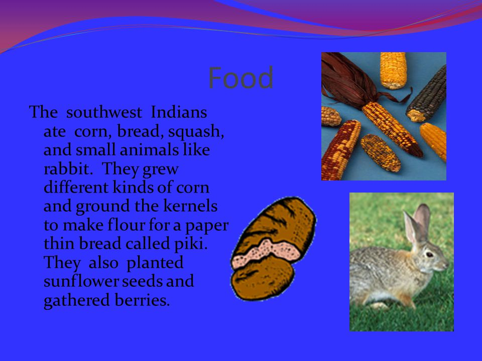 Food The southwest Indians ate corn, bread, squash, and small animals like rabbit.