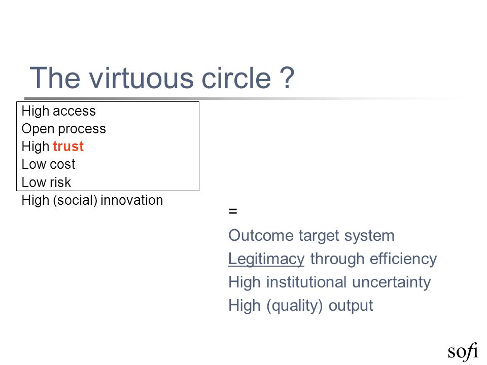 sofi The virtuous circle ? High access Open process High trust Low cost Low risk High (social) innovation = Outcome target system Legitimacy through e