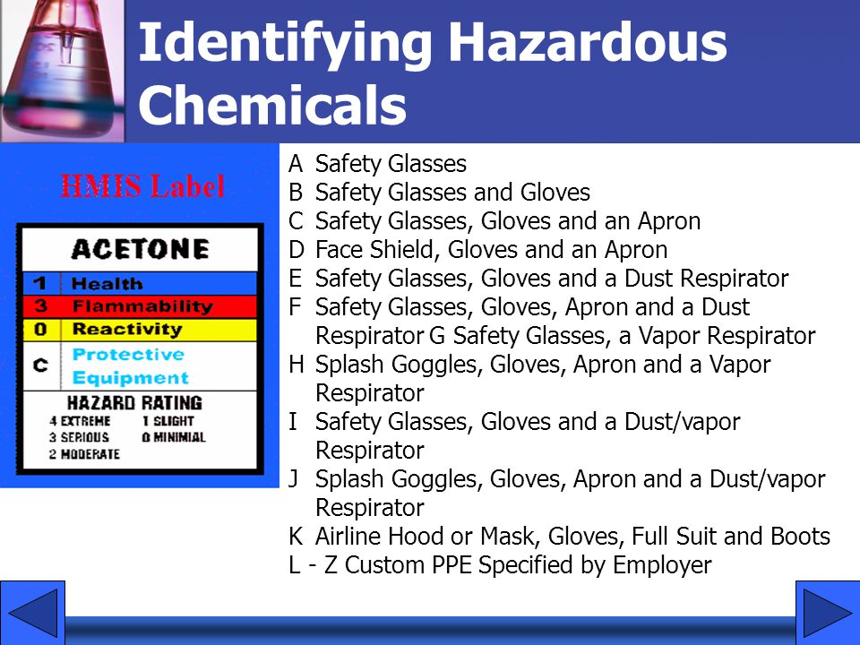 ASafety Glasses BSafety Glasses and Gloves C Safety Glasses, Gloves and an Apron D Face Shield, Gloves and an Apron E Safety Glasses, Gloves and a Dus