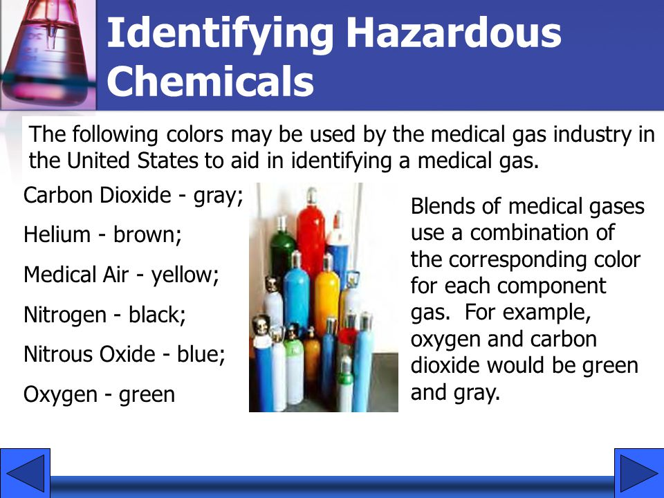 Identifying Hazardous Chemicals The following colors may be used by the medical gas industry in the United States to aid in identifying a medical gas.