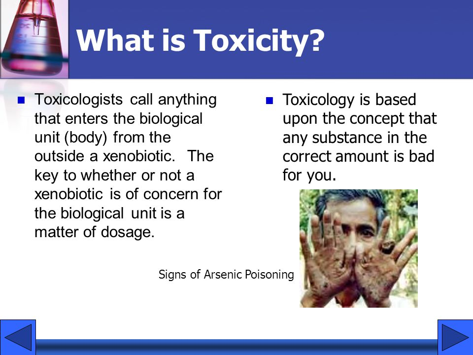 What is Toxicity? Toxicologists call anything that enters the biological unit (body) from the outside a xenobiotic. The key to whether or not a xenobi